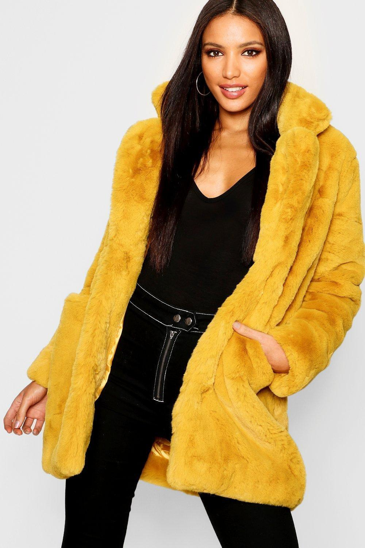 Boohoo exclusive faux fur coat in mustard