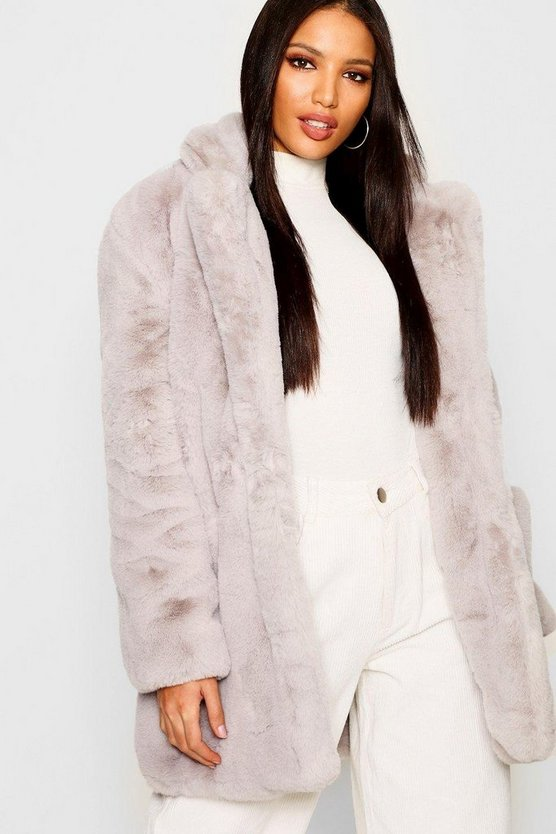 Womens Grey Boutique Faux Fur Coat