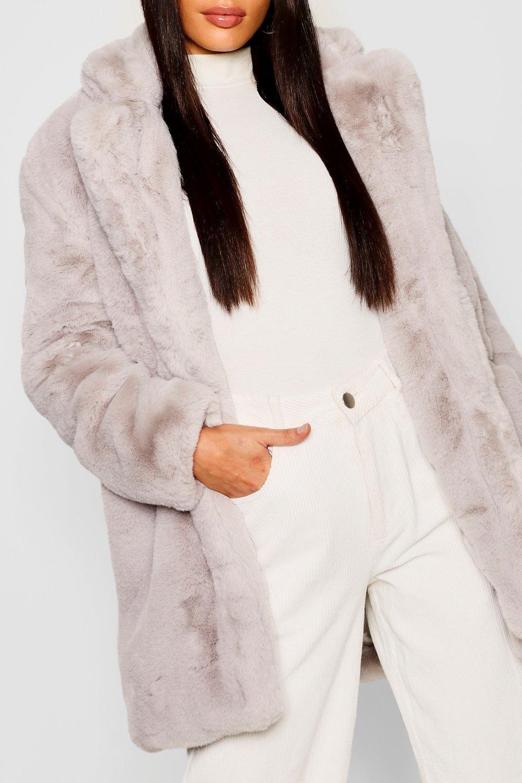 en sintética Abrigo gris piel Boutique 86ffTR
