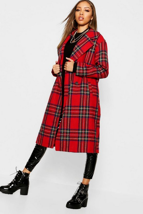 Womens Red Tartan Check Oversize Wool Look Coat