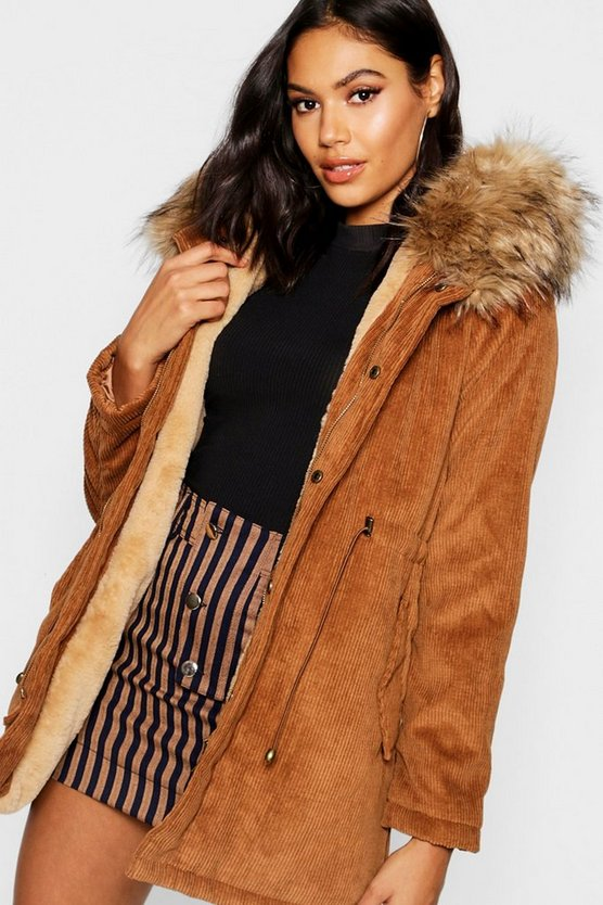 Womens Camel Cord Parka With Faux Fur Hood