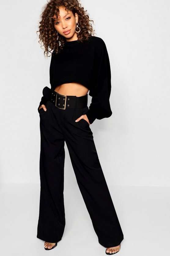 Womens Black Eyelet Belted Wide Leg Trouser