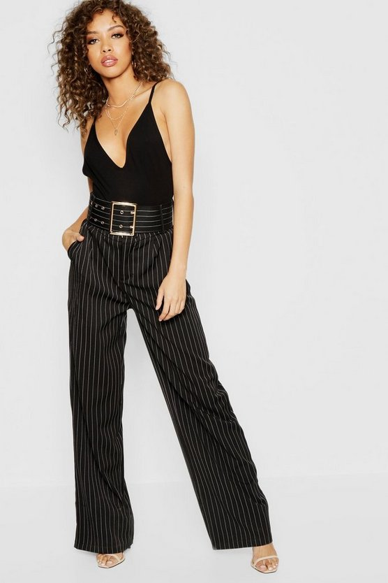 Womens Black Pinstripe Belted Wide Leg Trouser