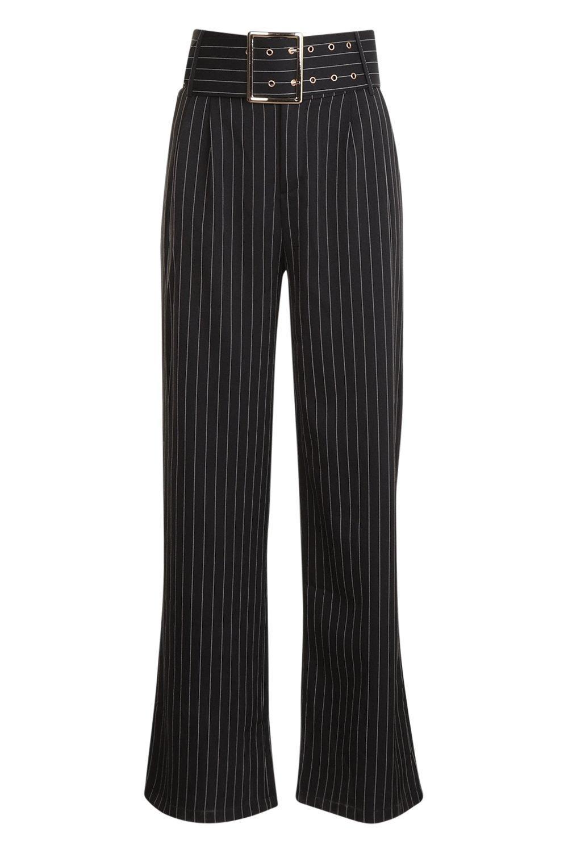 cinturón rayas con negro a Pantalones acampanados qwPfCC