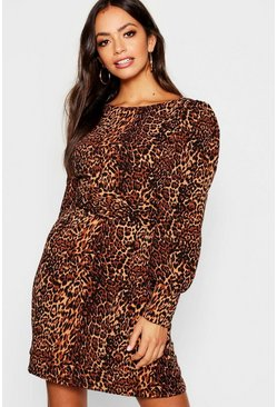 Womens Brown Satin Leopard Print Blouson Sleeve Shift Dress