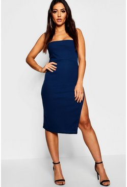 Womens Navy Strappy Ribbed Square Neck Midi Dress