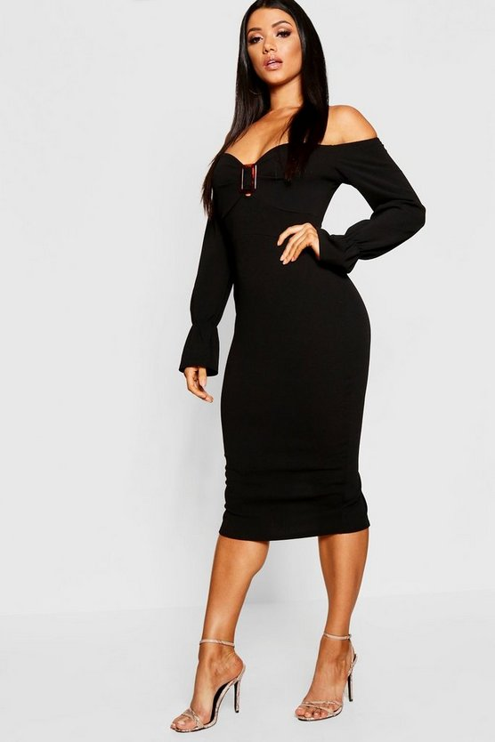 Off The Shoulder Tortoise Shell Buckle Midi Dress