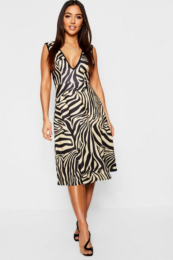 Zebra Print Plunge Neck Skater Dress