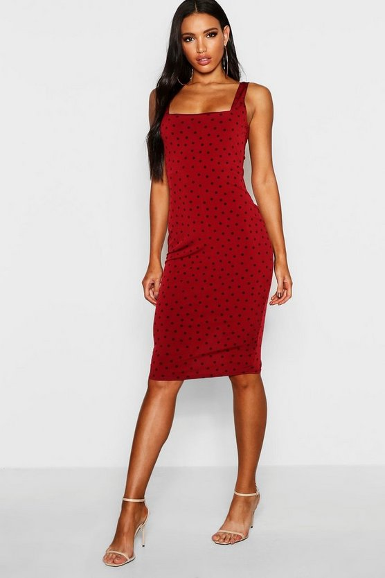 Womens Berry Polka Dot Square Neck Midi Dress