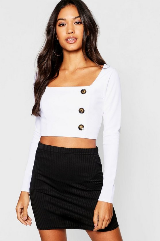 Long Sleeve Horn Button Crop