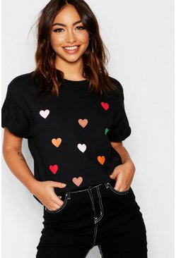 Womens Black All Over Heart Print T-Shirt