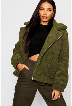 Womens Khaki Teddy Faux Fur Aviator