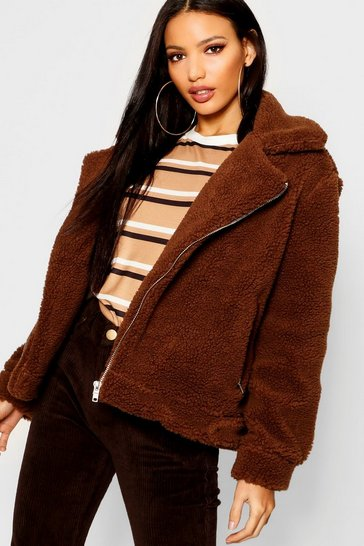 Womens Chocolate Teddy Faux Fur Aviator
