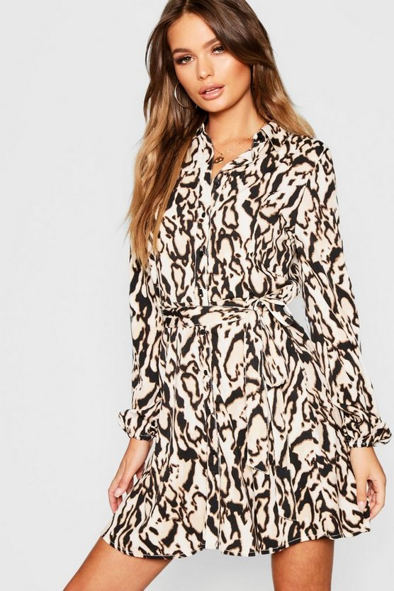 Leopard Woven Tie Shirt Dress