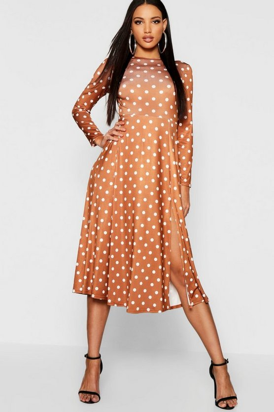 Side Split Polka Dot Skater Dress