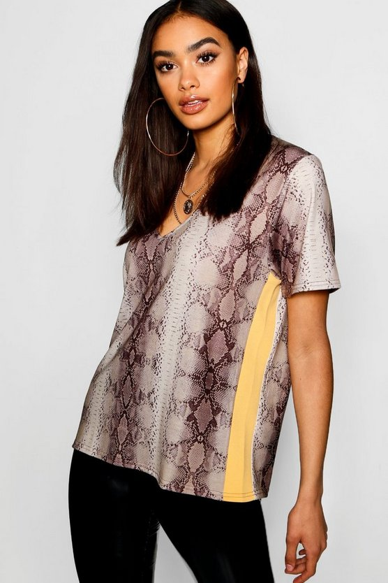 Snake Print Side Stripe T-Shirt
