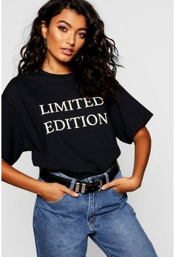 Womens Black Limited Edition Slogan Oversized T-Shirt