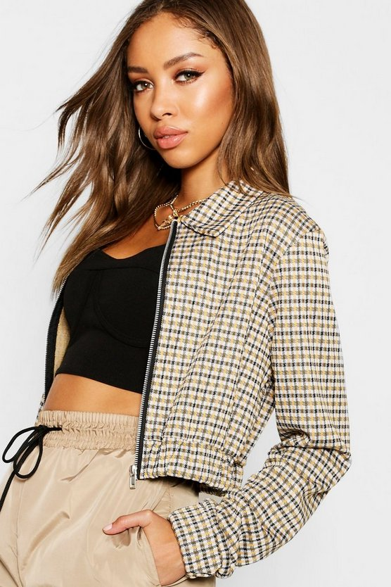 Mustard Heritage Check Cropped Bomber