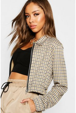 Womens Mustard Heritage Check Cropped Bomber