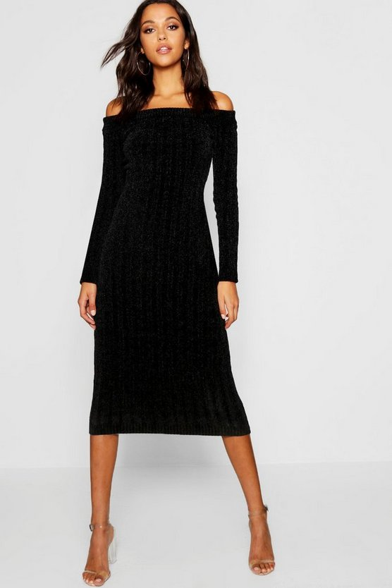 Womens Black Chenille Bardot Midaxi Dress