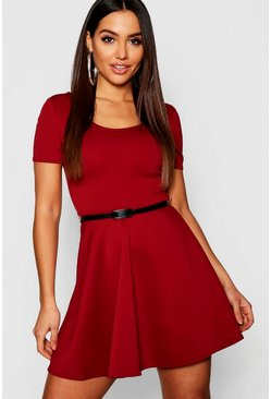 Womens Berry Short Sleeve Belted Skater Dress