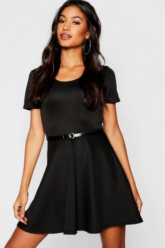 Womens Black Short Sleeve Belted Skater Dress