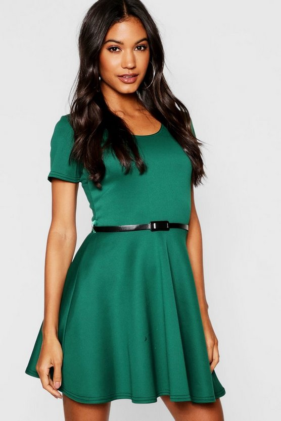 Womens Bottle Short Sleeve Belted Skater Dress