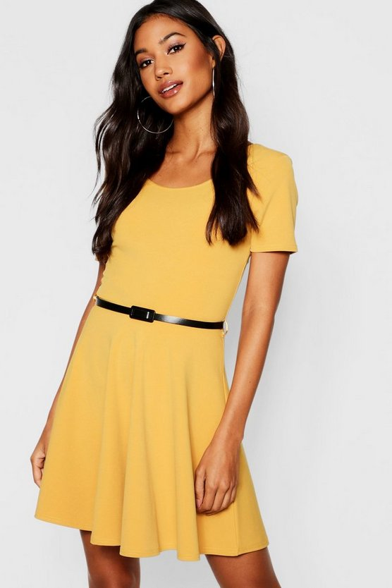 Womens Mustard Short Sleeve Belted Skater Dress