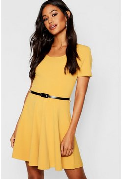 Mustard Short Sleeve Belted Skater Dress