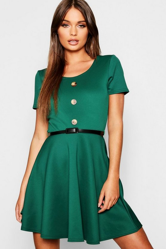 Short Sleeve Button Front Belted Skater Dress