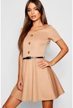 Womens Camel Short Sleeve Button Front Belted Skater Dress