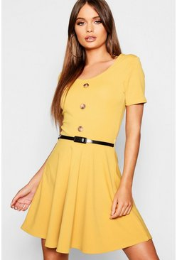 Womens Mustard Short Sleeve Button Front Belted Skater Dress