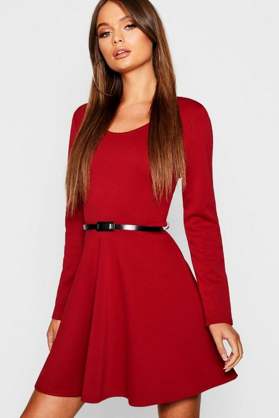 Long Sleeve Belted Skater Dress