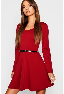 Womens Berry Long Sleeve Belted Skater Dress