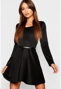 Womens Black Long Sleeve Belted Skater Dress