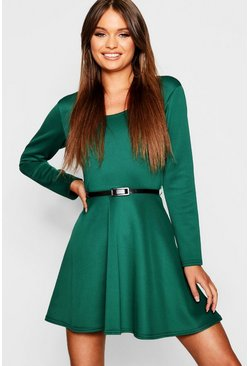 Womens Bottle Long Sleeve Belted Skater Dress