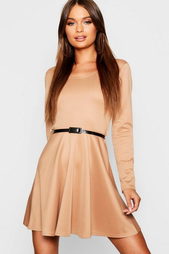 Womens Camel Long Sleeve Belted Skater Dress
