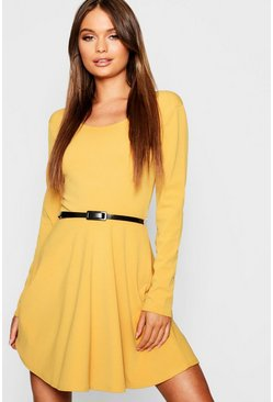 Womens Mustard Long Sleeve Belted Skater Dress