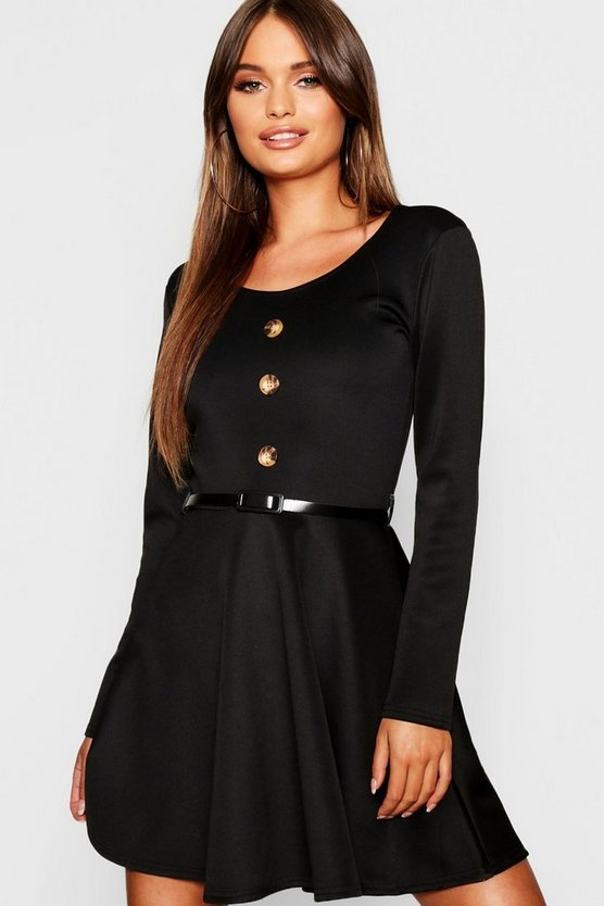 Womens Black Long Sleeve Button Front Belted Skater Dress