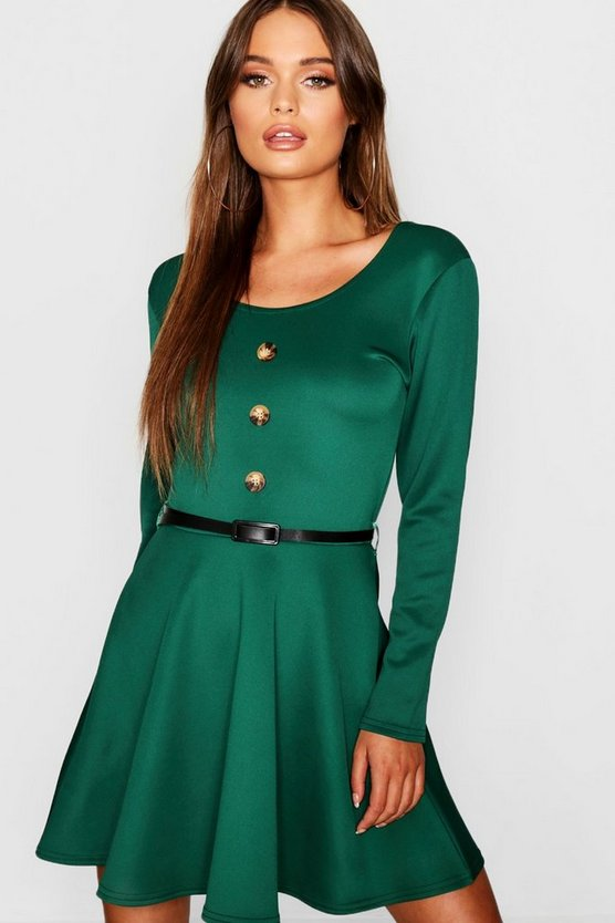Long Sleeve Button Front Belted Skater Dress