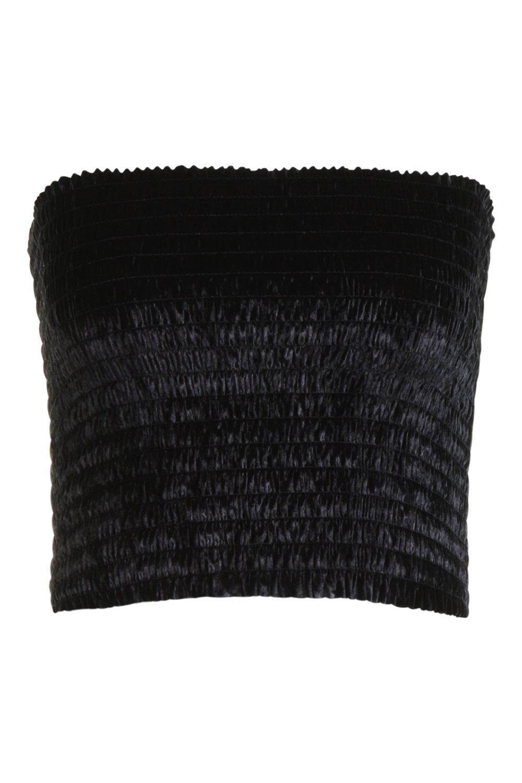 terciopelo Top negro corto fruncido de x0WxpfAzq