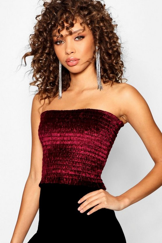 Velvet Shirred Bandeau