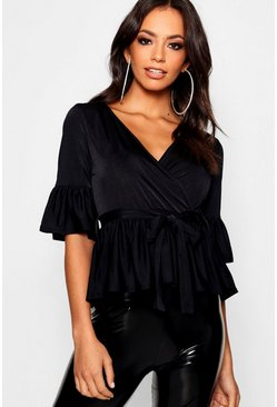 Womens Black Wrap Front Frill Hem Top