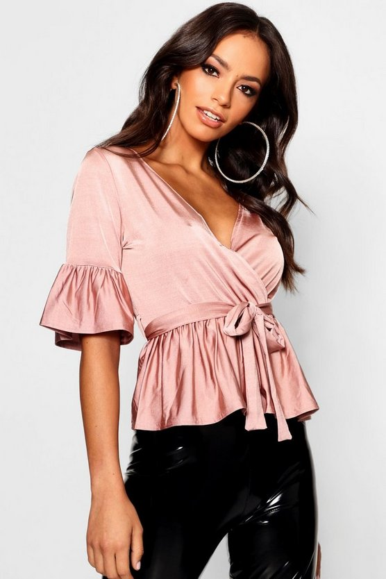 Rose Wrap Front Frill Hem Top