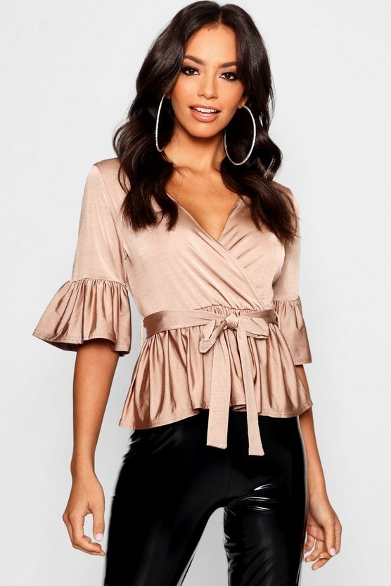 Womens Sand Wrap Front Frill Hem Top