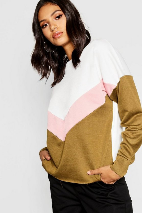 Womens Khaki Chevron Colour Block Sweat