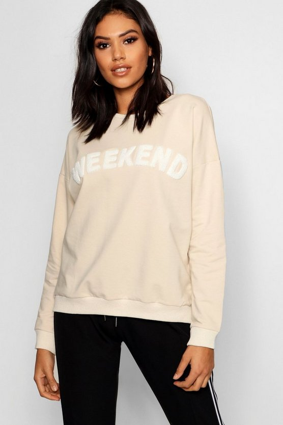 Applique Slogan Sweater