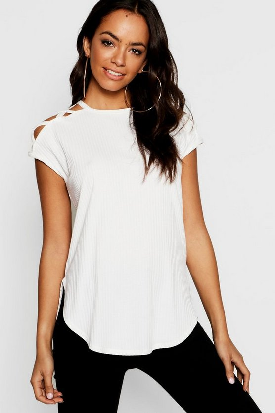 Shoulder Detail Rib T-Shirt