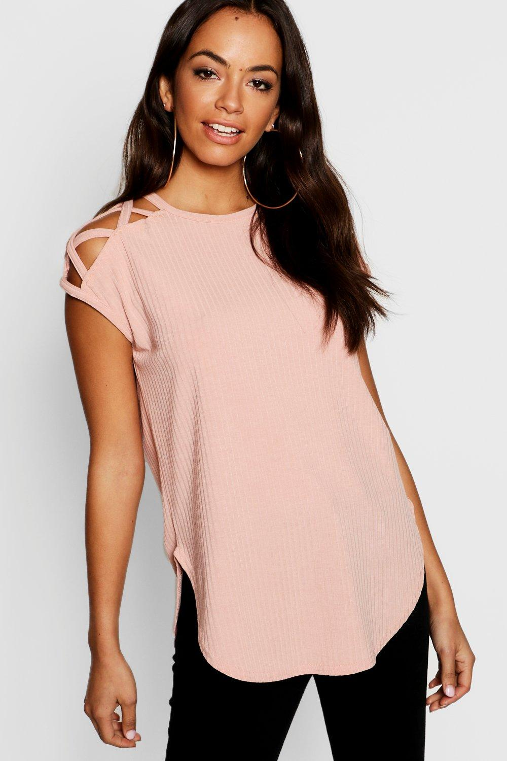 4022b037bb715 Shoulder Detail Rib T-Shirt. Hover to zoom