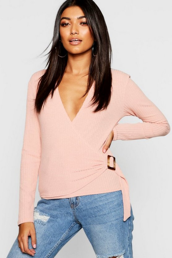 Buckle Wrap Rib Long Sleeve Top